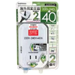 変圧器 (ダウントランス)(220-240V⇒100V・容量40W・USB出力端子0.5A) WT-55E