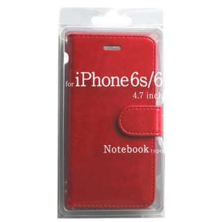 iPhone 6s/6用 手帳型 Notebook type ノートブック型ケース レッド BJSL-IP6RD