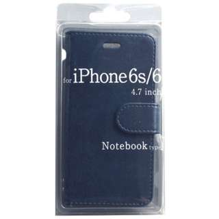 iPhone 6s/6用 手帳型 Notebook type ノートブック型ケース ネイビー BJSL-IP6NV