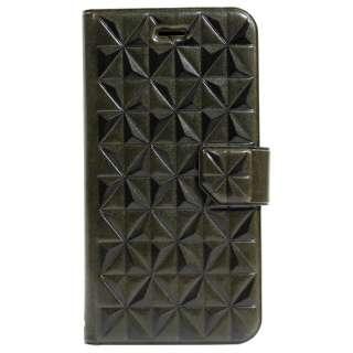 iPhone 6s/6用 手帳型ケース PU アーガイルレリーフエンボス カードポケット付 スタンド機能 ダークグリーン OWL-CVIP614-DG