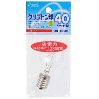 LB-PS3740K-C 電球 ミニクリプトン球 クリア [E17 /電球色 /1個 /一般電球形]