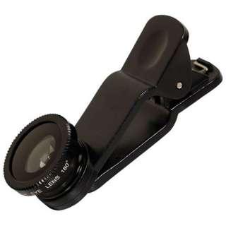 スマートフォン対応 クリップ型カメラレンズセット (マクロ・魚眼・ワイド)収納袋付 ブラック  OWL-MALENS01-BK