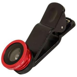 スマートフォン対応 クリップ型カメラレンズセット (マクロ・魚眼・ワイド)収納袋付 レッド  OWL-MALENS01-RE