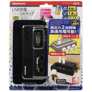 USB充電ポート付きスマートOAタップ (2ピン式・4個口・USB2ポート・1.8m) OWL-OTA4U2CL18-BK ブラック