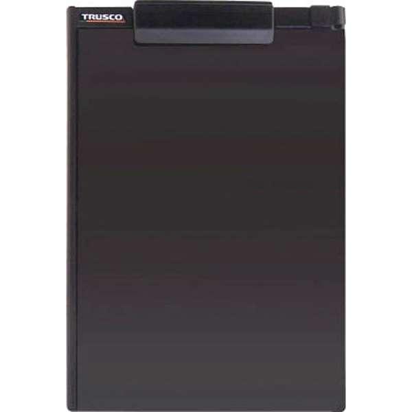 TRUSCO ペンホルダー付クリップボード(マグネット付) A4縦 黒 TCBM-A4E-BK