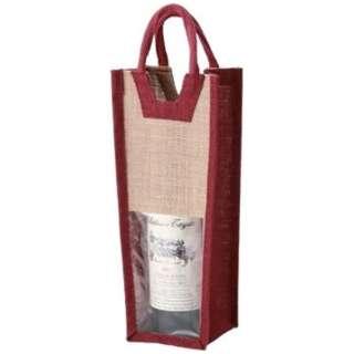 麻ワインバッグ 1本用 ワインレッド