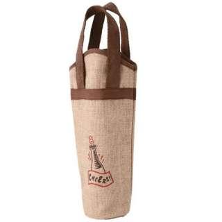 麻ワインバッグ 1本用 ワンポイント