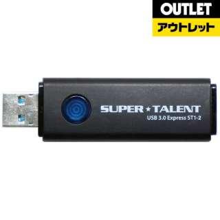 【アウトレット品】 USBメモリ [128GB /USB2.0 /USB TypeA /ノック式] SUPERTALENT  ST3U28ES12 ブラック 【外装不良品】