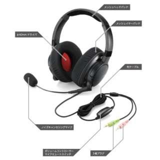 HS-DUX50BK ヘッドセット ブラック [φ3.5mmミニプラグ/両耳 /ヘッドバンドタイプ]
