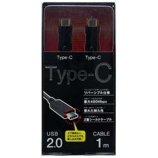 1.0m[USB-C ⇔ USB-C]2.0ケーブル 充電・転送 ブラック IUCD-CC100K