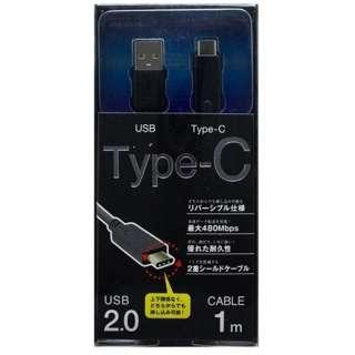 [Type-C]ケーブル 充電・転送 1.0m ブラックIUCD-U2C100K [1.0m]