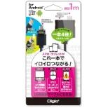 タブレット/スマートフォン対応[Android・USB microB・USBホスト機能] USBマルチケーブル 1m・ブラック (USB microB→USB A 接続) ZUH-OTGM10BK