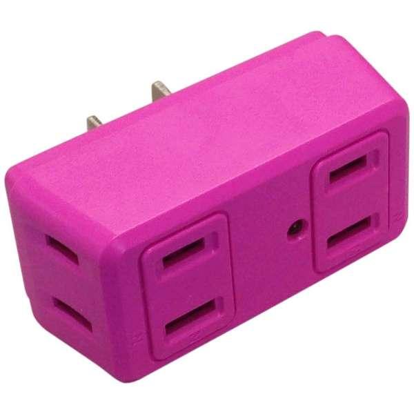 電源タップ 「COLOR BLOCKS ロングブロック」 (2ピン式・4個口) 雷サージガード搭載 CT003PK