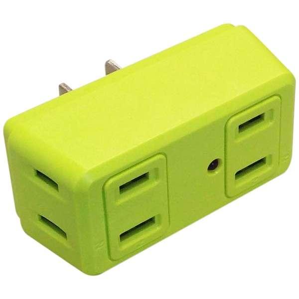 電源タップ 「COLOR BLOCKS ロングブロック」 (2ピン式・4個口) 雷サージガード搭載 CT003GR