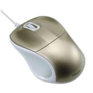 有線BlueLEDマウス[USB 1m・Mac/Win] 静音 mini (3ボタン・ゴールド) MUS-UKT110GL