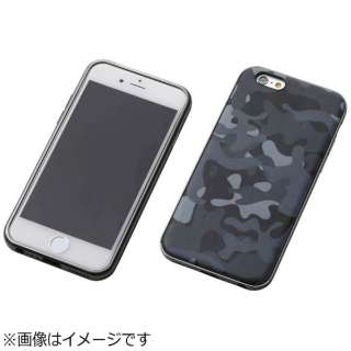 iPhone 6s/6用 レザーケース Hybrid Case UNIO PU Leather Camouflage カモフラージュ ミッドナイト+アルミブラック DCS-IP6SAPLBKCM