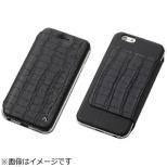 iPhone 6s/6用 レザーケース Hybrid Case UNIO Leather クロコ型押ブラック+アルミシルバー DCS-IP6SAGLFSVBK