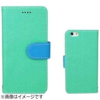 iPhone 6s/6用 手帳型 booc ダイアリーケース エメラルド×ライトブルー