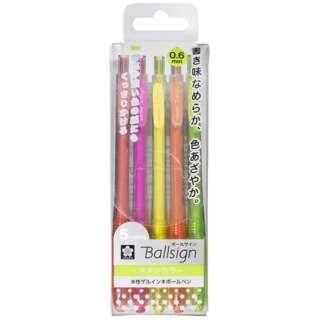 [ゲルインクボールペン] ボールサインノック ネオンカラー5色セット(ボール径:0.6mm) GBR1565C