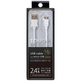 [micro USB]充電USBケーブル 2.4A (1.0m・ホワイト)PG-MC10M02WH [1.0m]