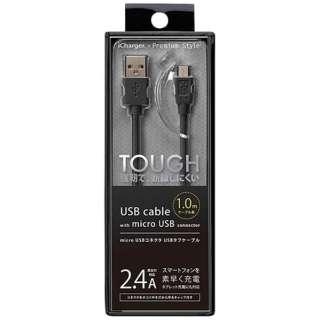 [micro USB]充電USBケーブル 2.4A (1.0m・ブラック)PG-MC10M01BK [1.0m]