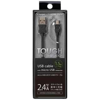 [micro USB]充電USBケーブル 2.4A (1.5m・ブラック)PG-MC15M01BK [1.5m]