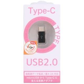 [USB-C オス→メス micro USB]2.0変換アダプタ 充電・転送 ブラック CH-C01BK