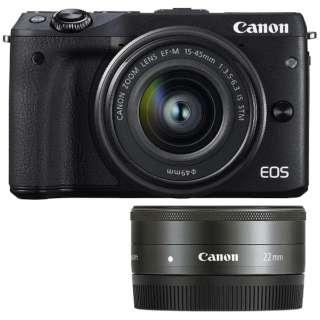 EOS M3 ミラーレス一眼カメラ ダブルレンズキット2 ブラック [ズームレンズ+単焦点レンズ]