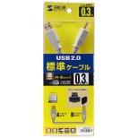 0.3m[USB-A ⇔ USB-B]2.0ケーブル 転送 ライトグレー KU20-03HK
