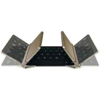 【スマホ/タブレット対応】ワイヤレスキーボード[Bluetooth3.0・Android/iOS/Win] GK930 Tri-folding 充電式 (英語64キー・シャンパンゴールド) GK930-CG