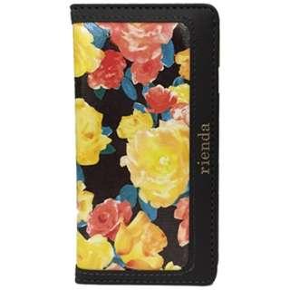 iPhone 6s/6用 手帳型 riendaケース フラワーペプラムプリーツキャミ ノートタイプ ブラック IP6-71291