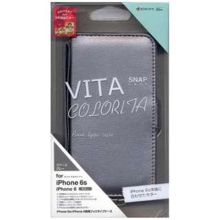 iPhone 6s/6用 VITA COLORITA手帳ケース Dカン付 ハンドストラップ付 横型 サイドマグネット スペースグレー 2280IP6SA