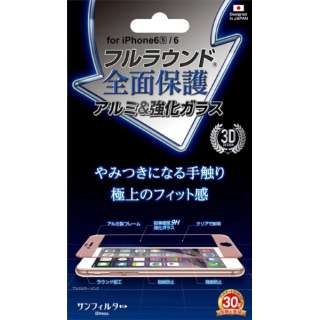 iPhone 6s Plus/6 Plus用 フルラウンドアルミ&強化ガラス ピンク i6PS-FGPK