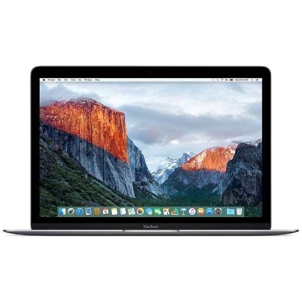 MacBook 12インチ[2016年/SSD 256GB/メモリ 8GB/1.1GHzデュアルコアCore m3]スペースグレイ MLH72J/A