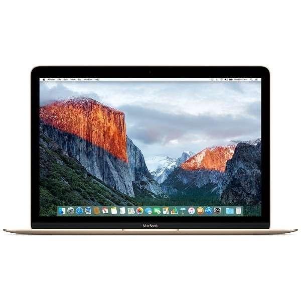 MacBook 12インチ[2016年/SSD 256GB/メモリ 8GB/1.1GHzデュアルコアCore m3]ゴールド MLHE2J/A