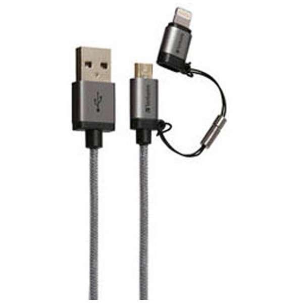 [micro USB+ライトニング]USBケーブル 2.4A (1.2m・グレー)MFi認証 64828B [1.2m]