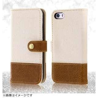 iPhone SE(第1世代)4インチ / 5s / 5用 手帳型ケース ファブリック 帆布 オフホワイト RT-P11FBC2/W ポケット・ストラップホール付