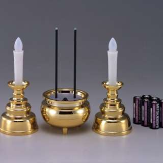 安心のろうそくお線香セット(ろうそく×2・線香×1) ゴールド AGI102GD