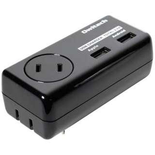[1個口] USB 2ポート付きタップ ブラック OWL-ACU2A1F24-BK