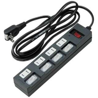 個別集中スイッチ付節電タップ (4個口 2m・黒) BKS452BK