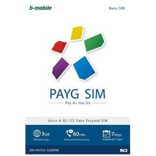 Nano SIM 「b-mobile 3G・4G PAYG SIM English package」 Prepaid・Voice calls・SMS BM-PAYG3-3G60NE