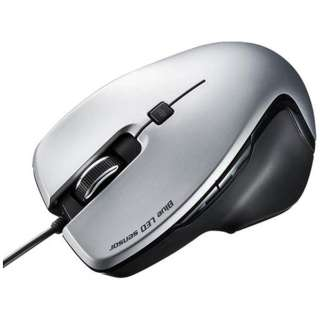 有線BlueLEDマウス[USB] (5ボタン・シルバー) MA-S1S