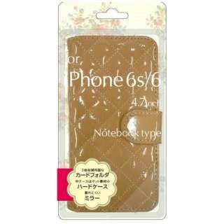 iPhone 6s/6用 手帳型 エナメル生地手帳型ジャケット ベージュ BJEM-IP6BG
