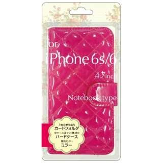 iPhone 6s/6用 手帳型 エナメル生地手帳型ジャケット ピンク BJEM-IP6PK
