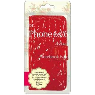 iPhone 6s/6用 手帳型 エナメル生地手帳型ジャケット レッド BJEM-IP6RD