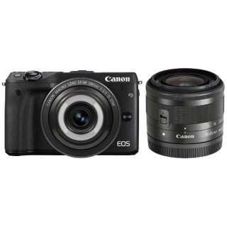 EOS M3 ミラーレス一眼カメラ クリエイティブマクロ ダブルレンズキット ブラック [ズームレンズ+単焦点レンズ]