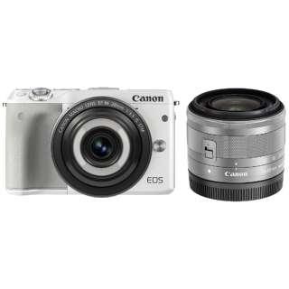 EOS M3 ミラーレス一眼カメラ クリエイティブマクロ ダブルレンズキット ホワイト [ズームレンズ+単焦点レンズ]