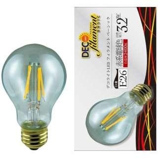 LDA3L/C/24/B/D LED電球 DECO LIGHT LED Filament BASIC(デコライトLED・フィラメントベーシック) クリア [E26 /電球色 /1個 /一般電球形 /全方向タイプ]