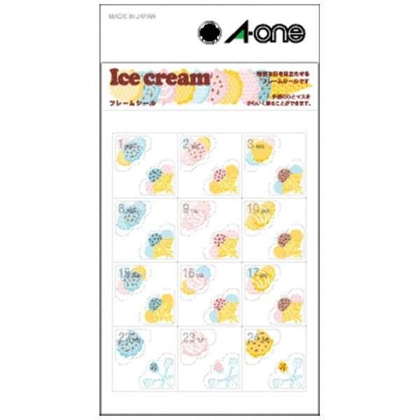手帳用シール フレームシール Ice cream アイスクリーム 05268 [1シート /24面 /マット]