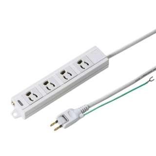 電源タップ マグネット付き(3ピン式・4個口・5m) TAP-MG341N2PN-5 ホワイト [5m]